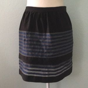 Layered Black and Blue Striped Skirt 8PE